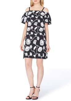 Tahari Embroidered Linen Blend Dress