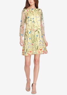 Tahari Asl Embroidered Mesh Shift Dress