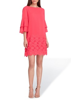 Tahari Embroidered Ruffle Sleeve Shift Dress