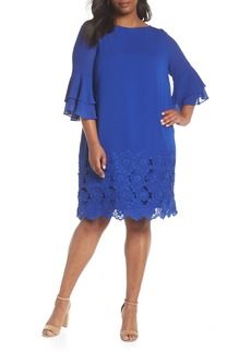 Tahari Embroidered Ruffle Sleeve Shift Dress (Plus Size)
