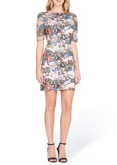 Tahari Embroidered Sequin Sheath Dress