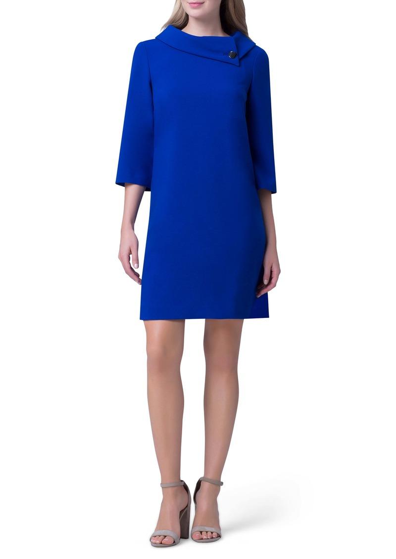 Tahari Envelope Collar Crepe Shift Dress