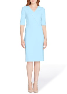 Tahari Envelope Neck Sheath Dress