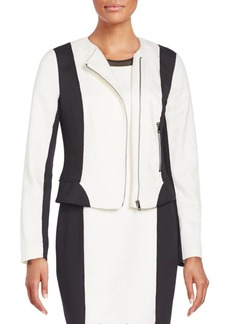 Tahari Erin Two-Tone Zip Jacket
