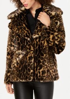 Tahari Faux-Fur Leopard-Print Coat