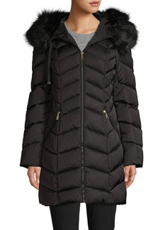 Tahari Faux Fur-Trim Chevron Quilted Down Coat