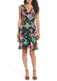 Tahari Faux Wrap Chiffon Dress (Regular & Petite)