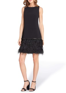 Tahari Feather Detail Sleeveless Crepe Shift Dress