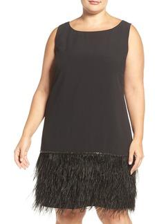Tahari Feather Hem Crepe Shift Dress (Plus Size)