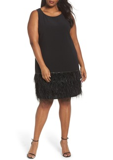 Tahari Feather Hem Shift Dress (Plus Size)