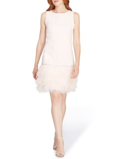 Tahari Feather Trim Sheath Dress (Regular & Petite)