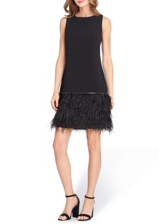 Tahari Feather Trim Sheath Dress