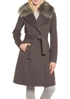 Tahari Fiona Wrap Coat with Removable Faux Fur Collar