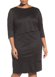 Tahari Flocked Dot Shift Dress (Plus Size)