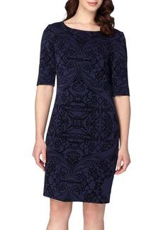 Tahari Flocked Sheath Dress (Regular & Petite)