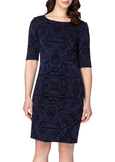 Tahari Flocked Sheath Dress (Regular & Petite)