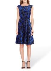 Tahari Flocked Velvet A-Line Dress (Regular & Petite)