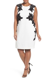 Tahari Floral Appliqué Crepe Sheath Dress (Plus Size)