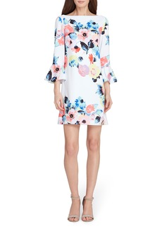 Tahari Floral Bell Sleeve Shift Dress