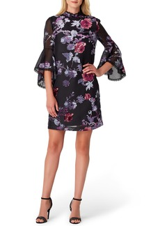 Tahari Floral Burnout Bell Sleeve Shift Dress