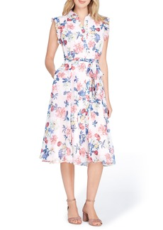 Tahari Floral Chiffon Shirtdress