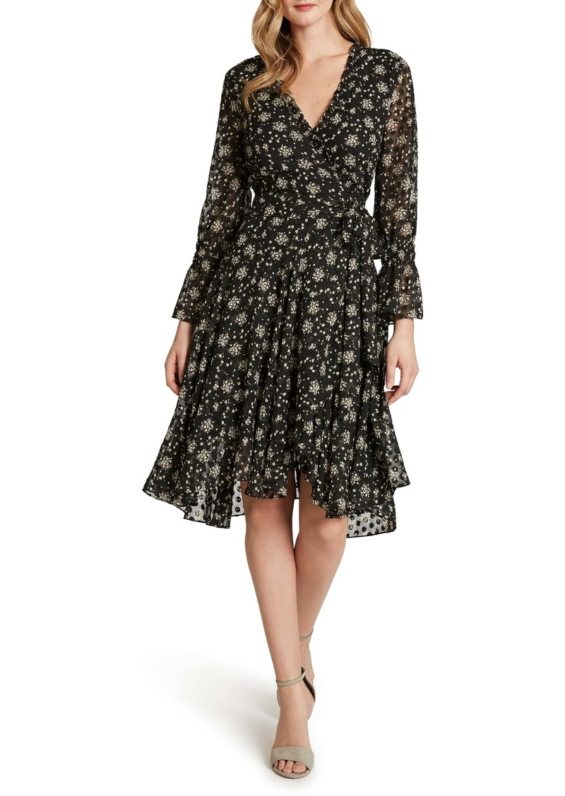 Tahari Floral Dot Chiffon Long Sleeve Faux Wrap Dress