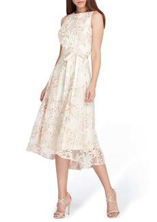 Tahari Floral Embroidered Dress (Regular & Petite)