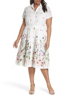 Tahari Floral Embroidered Eyelet Shirtdress (Plus Size)