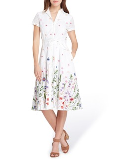 Tahari Floral Embroidered Eyelet Shirtdress (Regular & Petite)