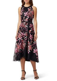 Tahari Floral Embroidered High/Low Midi Dress
