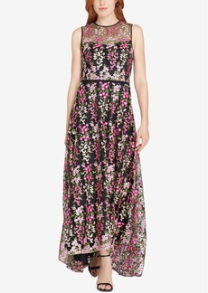 Tahari Floral-Embroidered Illusion Gown
