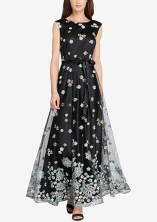 Tahari Floral-Embroidered Mesh Gown