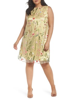 Tahari Floral Embroidered Shift Dress (Plus Size)