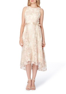 Tahari Floral Embroidered Tea Length Dress (Regular & Petite)