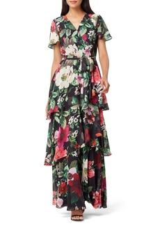 Tahari Floral Faux Wrap Chiffon Maxi Dress
