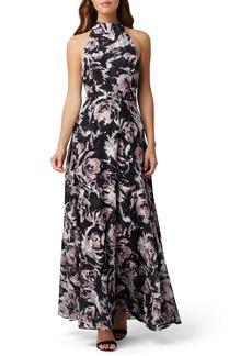 Tahari Floral Halter Neck Gown