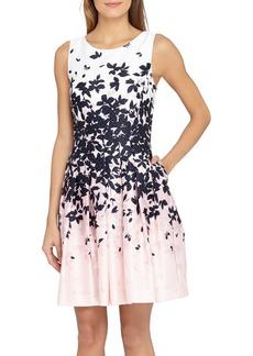 Tahari Floral Jacquard Fit & Flare Dress (Regular & Petite)