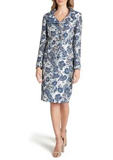 Tahari Floral Jacquard Long Sleeve Two-Piece Dress