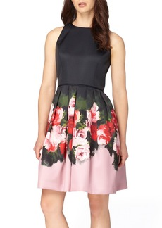 Tahari Floral Mikado Fit & Flare Dress (Regular & Petite)