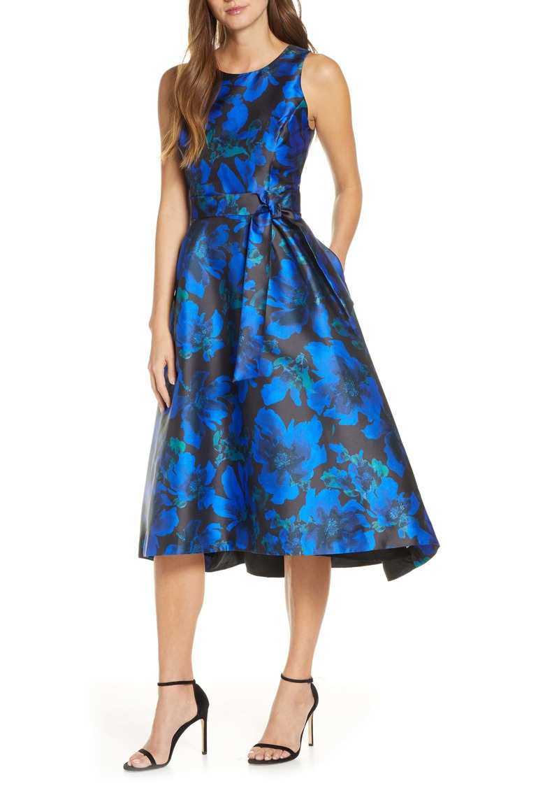 Tahari Floral Mikado High/Low Cocktail Dress
