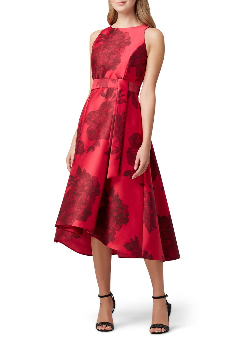 Tahari Floral Mikado Midi Dress