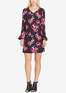 Tahari Asl Floral-Print Bell-Sleeve Shift Dress
