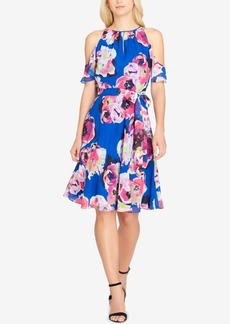 Tahari Floral-Print Cold-Shoulder Dress
