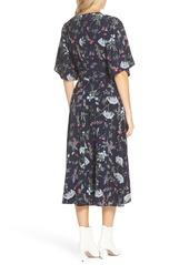 Tahari Floral Print Faux Wrap Midi Dress