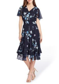 Tahari Floral Print Flutter Sleeve Dress