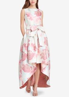 Tahari Floral-Print Jacquard High-Low Gown