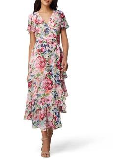 Tahari Floral Print Ruffle Chiffon Midi Dress