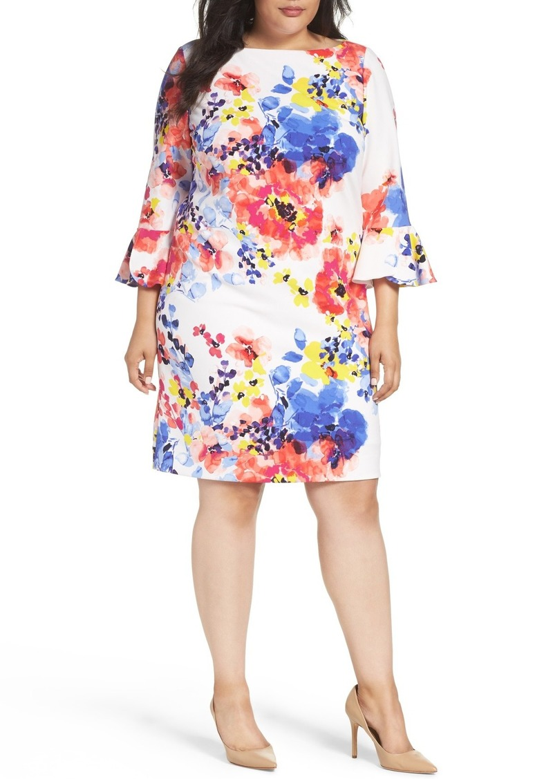 Floral Print Shift Dress (Plus Size)