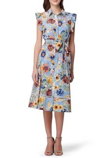 Tahari Floral Ruffle Shirtdress
