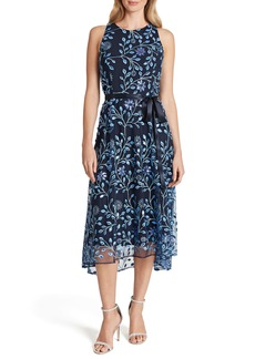Tahari Floral Sequin Embroidered Cocktail Midi Dress